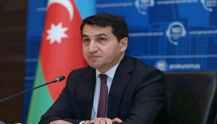 """Hikmət Hacıyev: """"Ermənistan Azərbaycana aid tarixi abidələrin izlərini silməyə çalışır"""""""