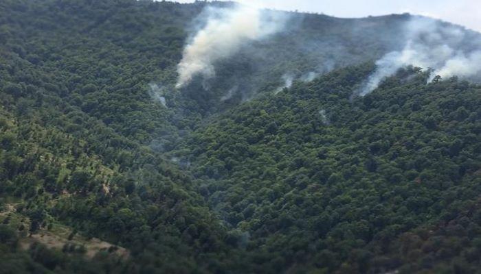 Yardımlıda davam edən meşə yanğınlarının söndürülməsinə helikopter cəlb edilib